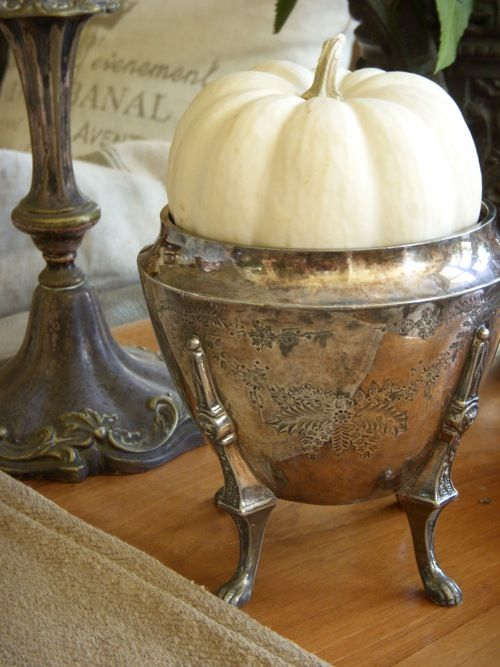 vintage silver with white pumpkins to decorate for the fall