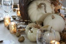 13 rustic table decor with a cornutopia centerpiece, fabric pumpkins and gilded nuts