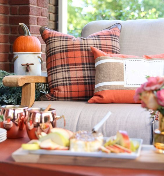 bold orange plaid pillow for fall