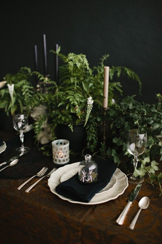 Elegant Halloween Table Decor With Potted Greenery And Faux Spiders