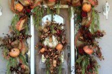 14 harvest front door decor with faux pumpkins, decor mesh, ribbon and burlap