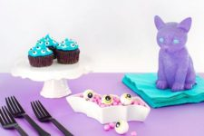 14 lavender, pink and turquoise decorations and food