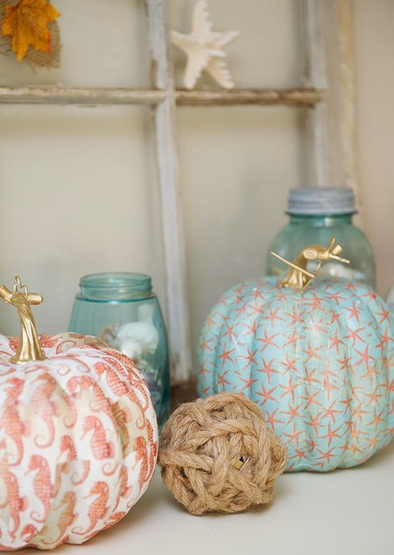 seahorse and star fish pumpkins for coastal decor