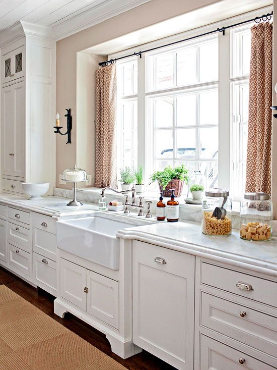 usual curtains can provide full privacy when closed - Kitchen Window Ideas