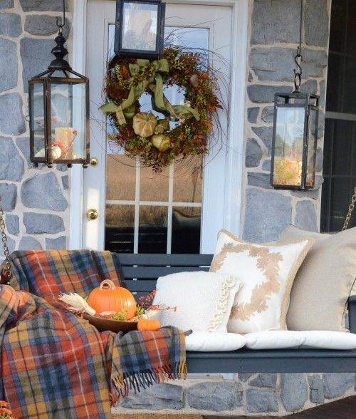 fall plaid blanket on your porch bench will keep you warm