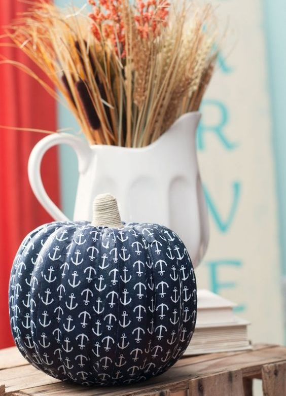 nautical anchor pumpkin decor is an awesome DIY