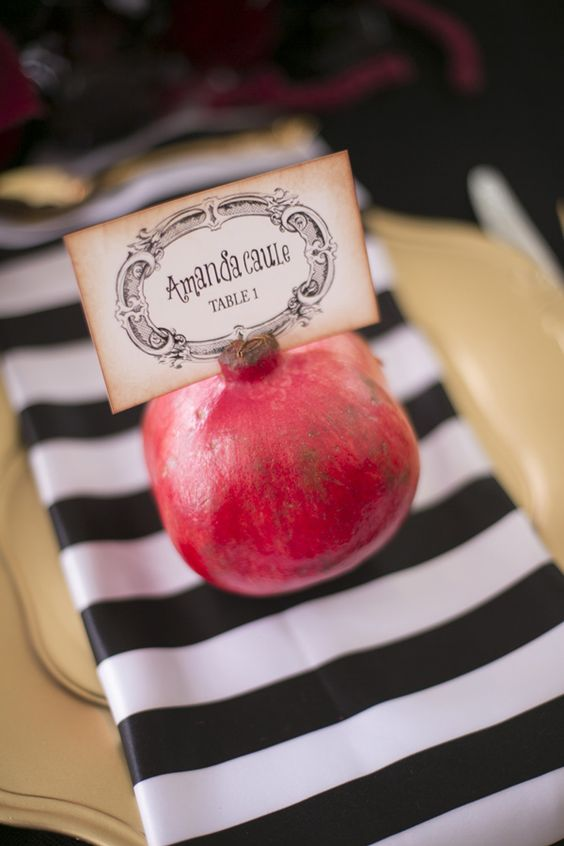 pomegranate place card and favor in one