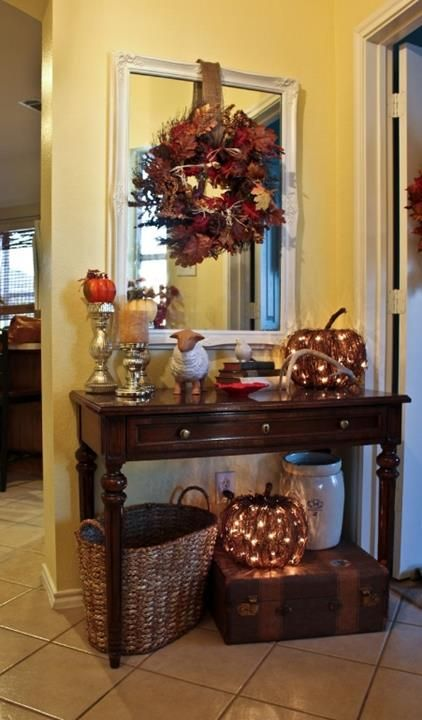 vine pumpkins with lights inside for Thanksgiving and fall decor