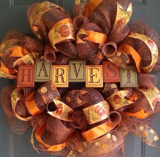 bold deco mesh wreath with HARVEST letters
