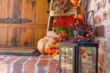 16 harvest porch decor with a lantern and faux fall stuff decor