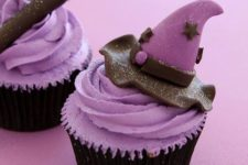 16 lavender cupcakes with witch hats