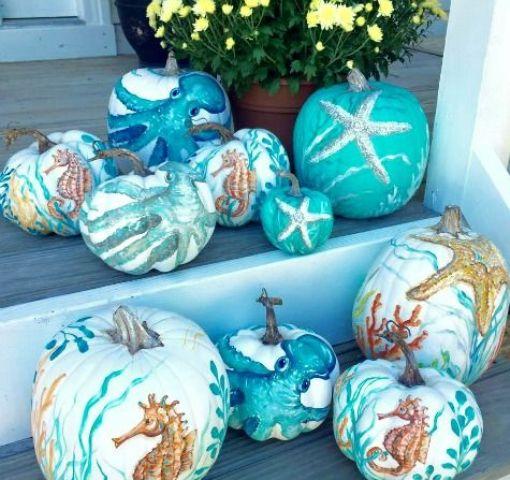 stunning nautical art pumpkin decor