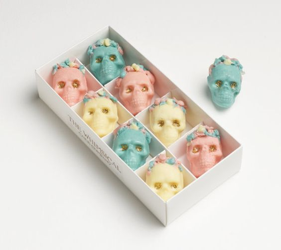pastel chocolate skull candies as favors
