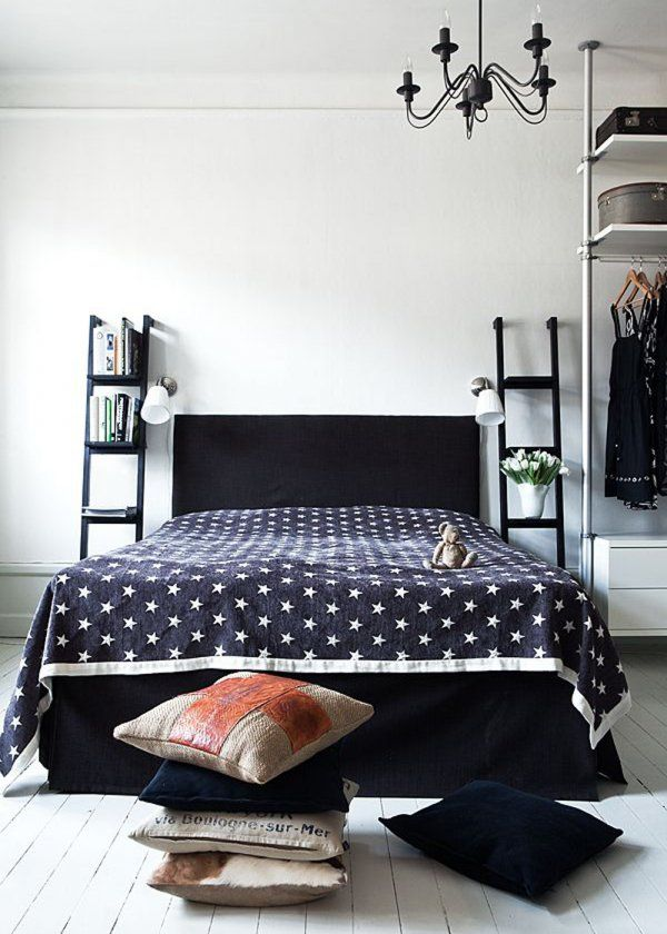 black ladder bedside solution for small spaces