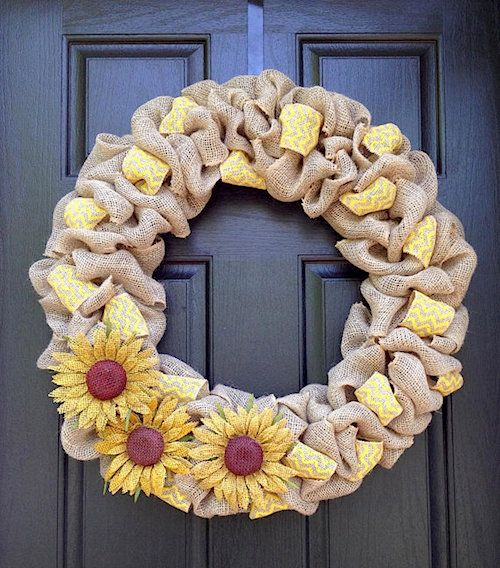 burlap and yellow mesh wreath with faux sunflowers