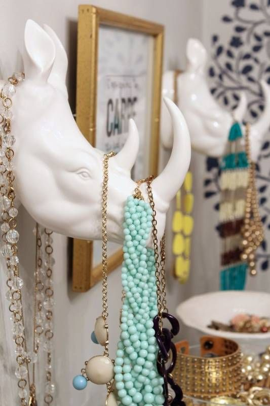 Nice faux rhino heads can hold your jewelry