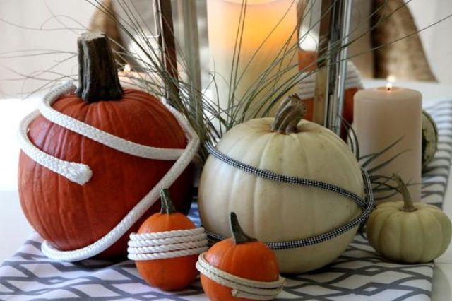 nautical pumpkins wrapped wirh rope