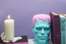 19 Frankenstein head with pink hair for an alternative Halloween party