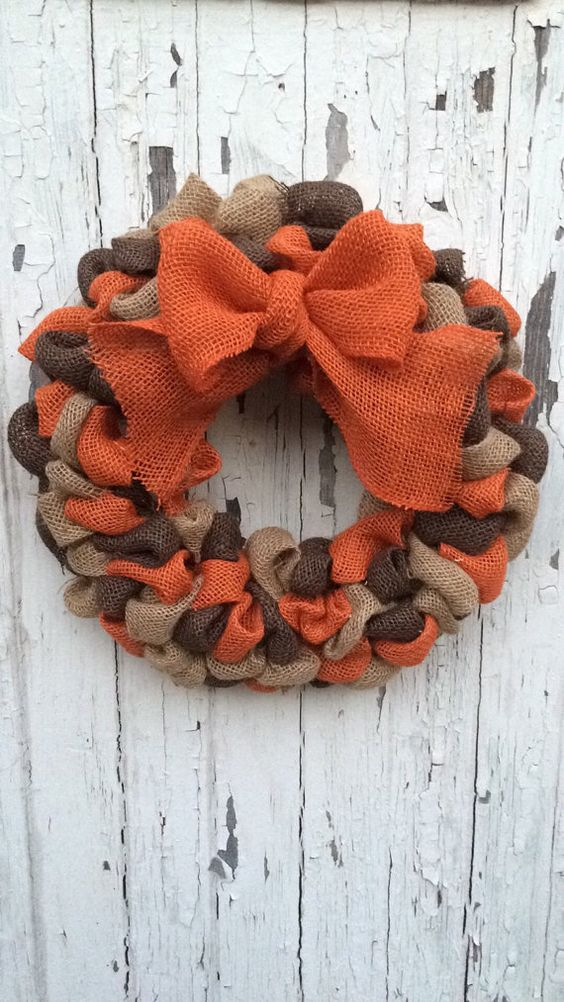 burlap ribbon wreath with a large bow