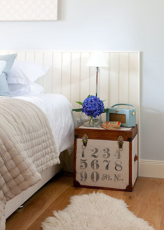 cute little trunk doubles as nightstand. 24 Creative And Eye Catchy Bedside Table Alternatives   Shelterness