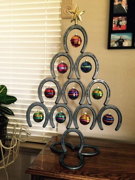 cool horseshoe Christmas tree alternative with ornaments
