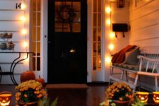 19 large lights attached over the front door make your entryway inviting