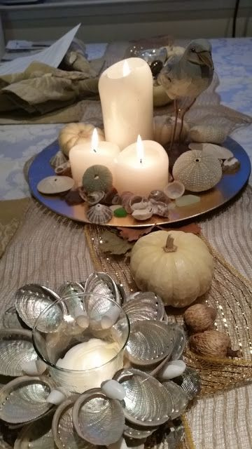 dish display with candles, sea urchins, oysters and shells