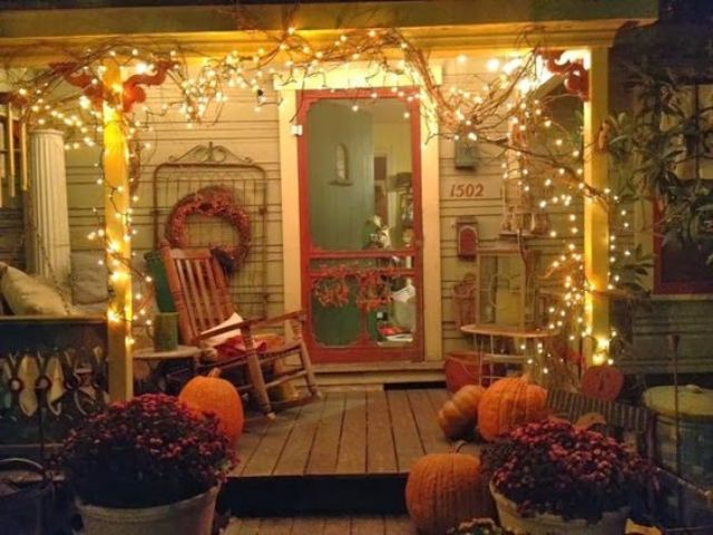 light up your porch for fall with usual Christmas lights