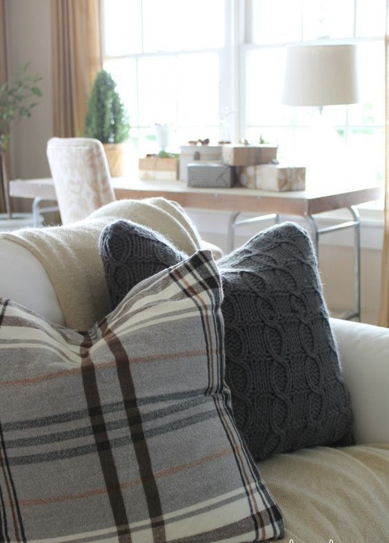 put plaid and knit pillows for cozy fall decor