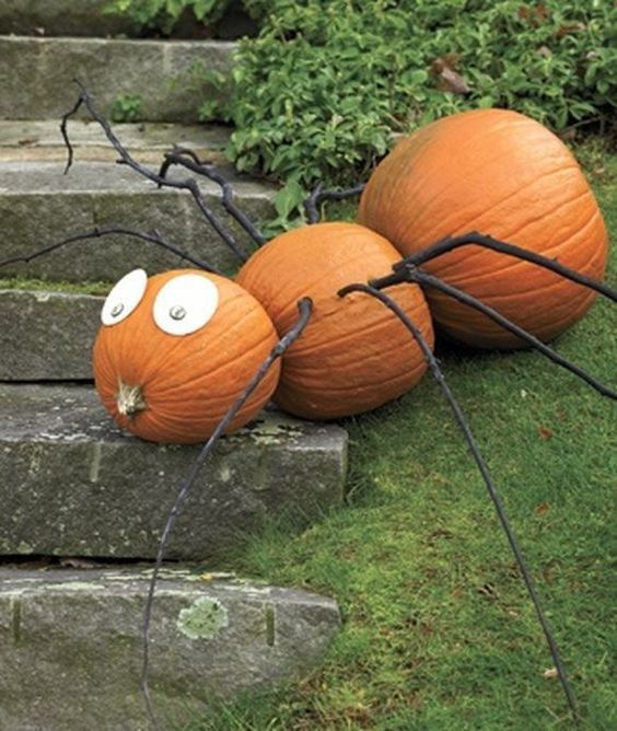 giant pumpkin spider with branches as legs