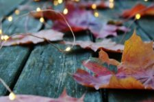 22 lights mixed with real fall leaves are a perfect decoration