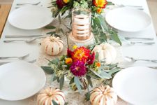 22 minimalist tablescape with a greenery and fresh pumpkins table runner