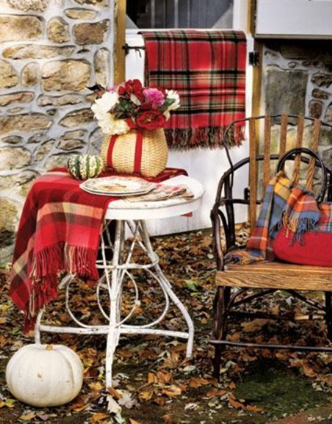 tartan throws for outdoor fall decor