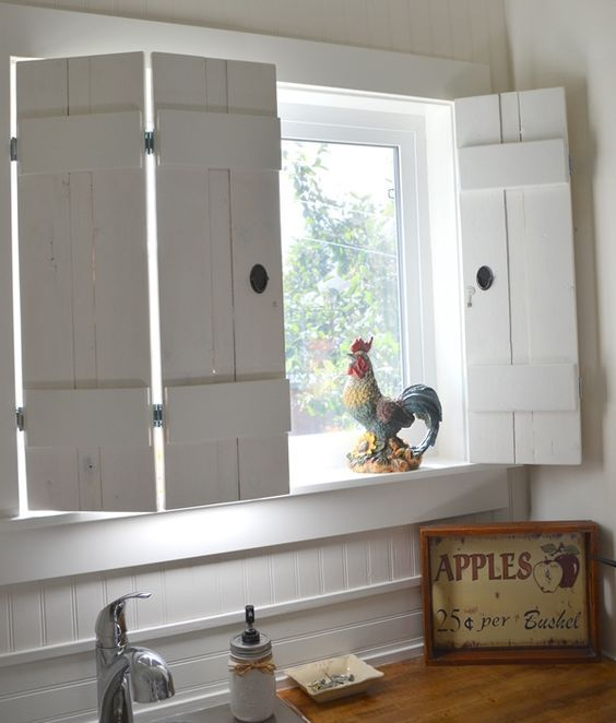 wooden shutters give a rustic look to your shabby chic kitchen decor