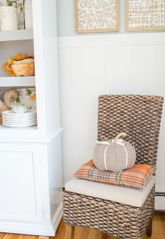orange plaid pillow for fall decor
