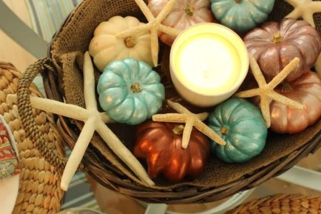 painted mini pumpkins and starfish for fall decor