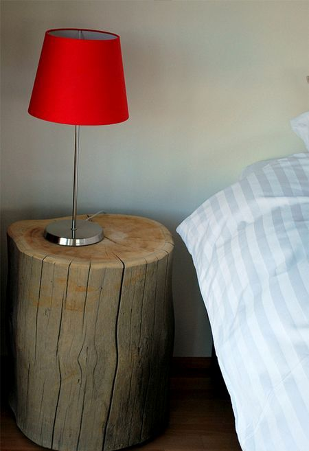 tree stump bedside table