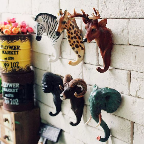 animal head hooks for entryways or kid's rooms