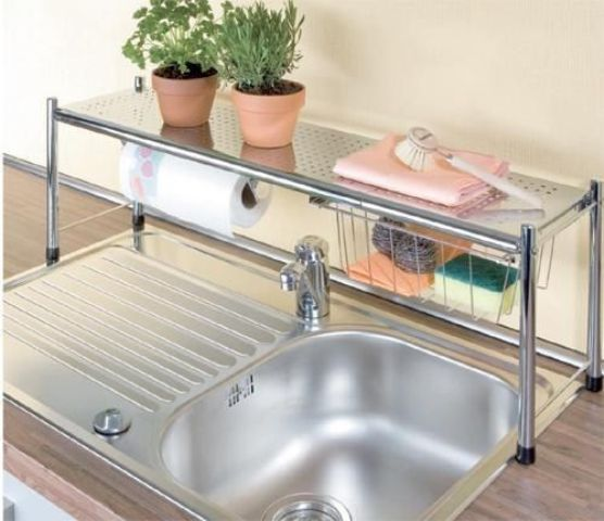 get an over the sink shelf to double up on counter space