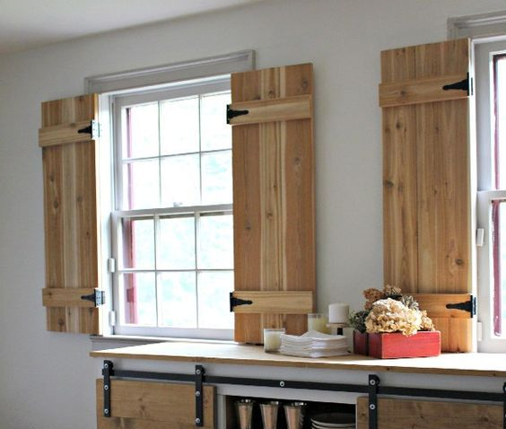 interior cedar shutters for a rustic kitchen