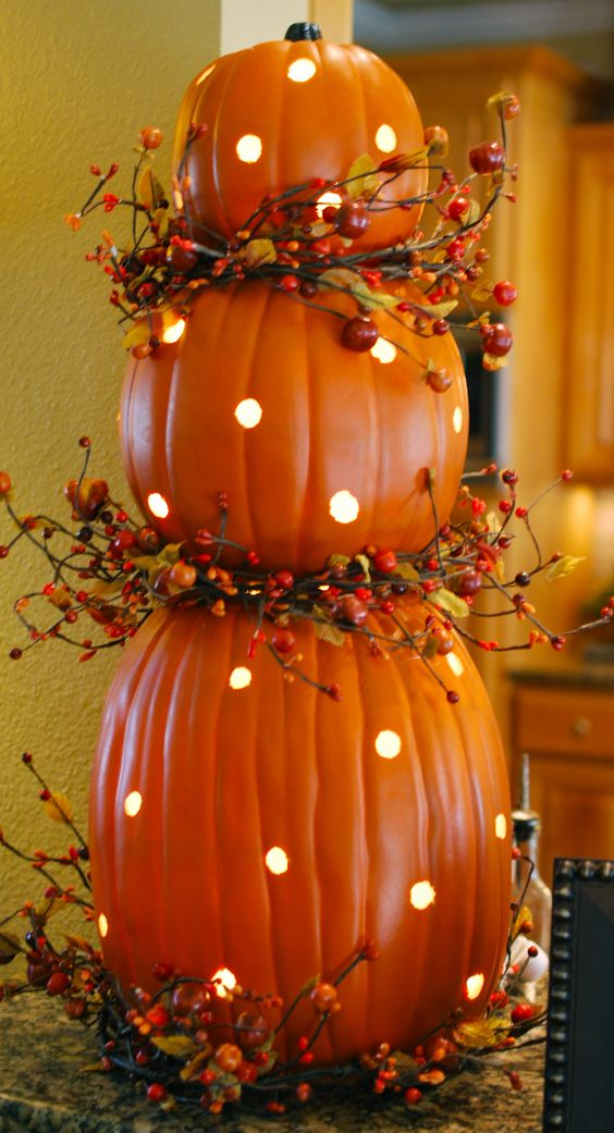 polka dot pumpkins with LEDs inside