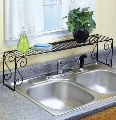 put a shelf over the sink to save some countertop space