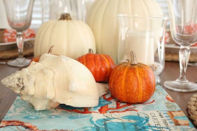 simple pumpkin centerpiece with a large shell