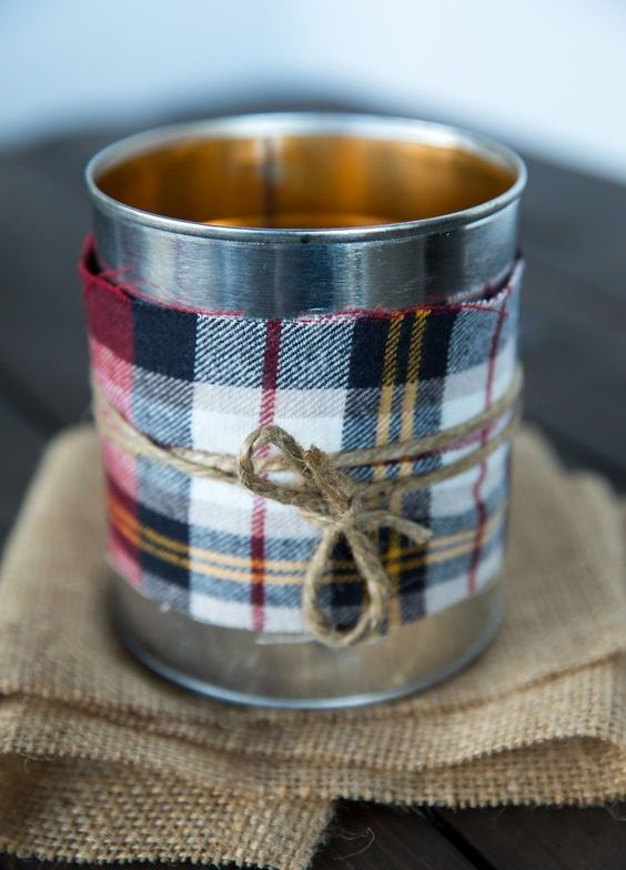 wrap usual cans with plaid flannel to make fall-like lanterns