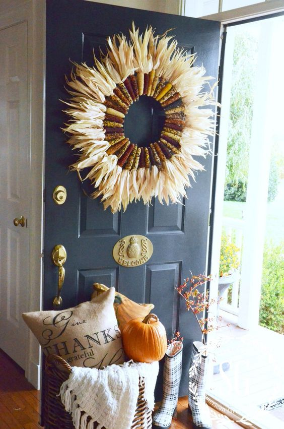 corn husk door wreath