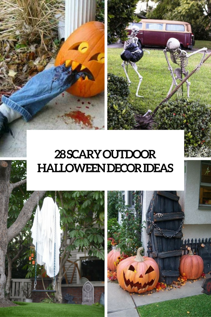 scary outdoor halloween decor ideas cover - Spooky Outdoor Halloween Decorations