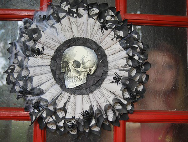 DIY creepy wreath of book pages (via creativemeinspiredyou.com)