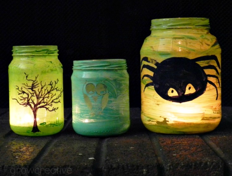 DIY painted Halloween lanterns from mason jars (via www.growcreativeblog.com)