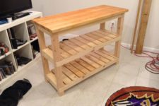 DIY butcher block kitchen island with shelves