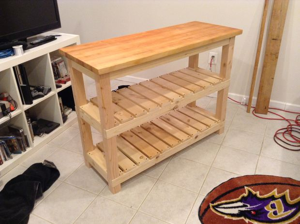 DIY butcher block kitchen island with shelves (via www.instructables.com)